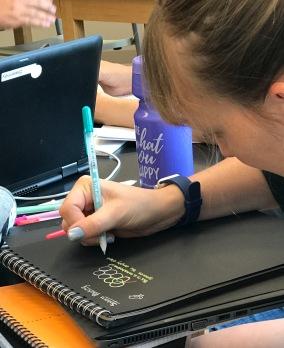 Annie loves pens!